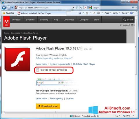 Скріншот Adobe Flash Player для Windows 8.1