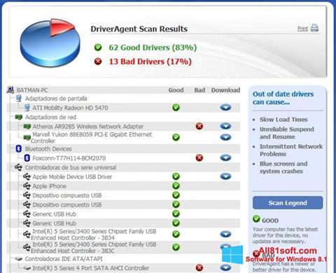 Скріншот DriverAgent для Windows 8.1