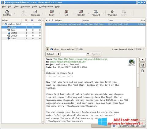 Скріншот Claws Mail для Windows 8.1