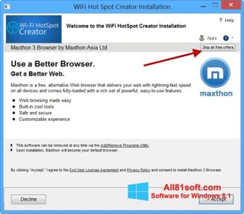 Скріншот Wi-Fi HotSpot Creator для Windows 8.1