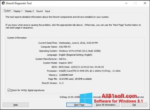 Скріншот DirectX для Windows 8.1