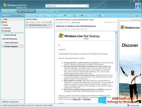 Скріншот Windows Live Mail для Windows 8.1