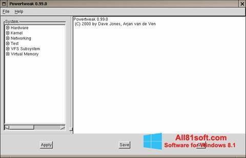 Скріншот PowerTweak для Windows 8.1