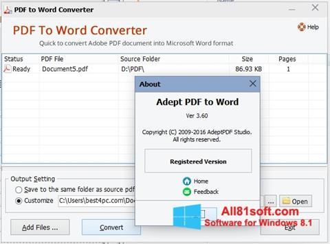 Скріншот PDF to Word Converter для Windows 8.1