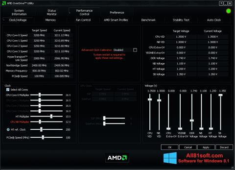 Скріншот AMD Overdrive для Windows 8.1